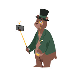 Funny picture bear photographer mamal person take selfie stick in his hand and cute animal taking a selfie together with smartphone camera vector illustration.