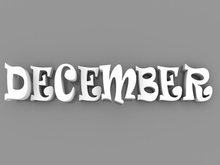 December sign with colour black and white. 3d paper illustration.