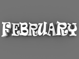 February sign with colour black and white. 3d paper illustration.