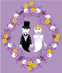 wedding between skeletons with frame