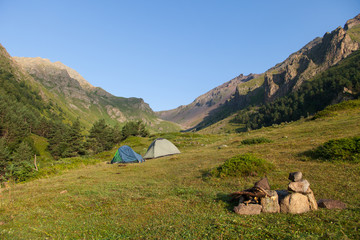 Mountain camping. Tents in the mountains