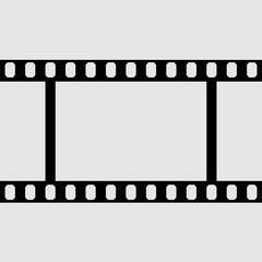 eps 10 vector vintage film strip frame isolated on gray background. 35 mm width perforated emplty editable film, add any text, image. Profesional cinematorgrafy tool. Small format photos movie film
