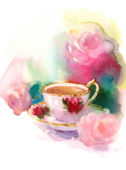 Watercolor Vintage Porcelain Teacup and Garden Roses Flowers Floral Background Texture Hand Painted Illustration