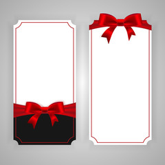Vertical template banner with red ribbon and a bow. Vector