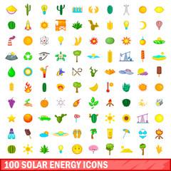 100 solar energy icons set, cartoon style