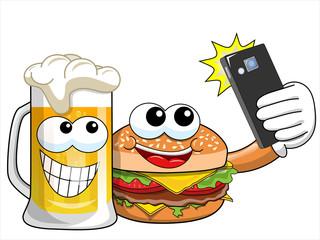 Cartoon hamburger beer characters taking selfie smartphone isolated