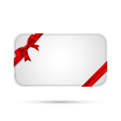 Template gift card with red bow and ribbon. Vector, eps10.
