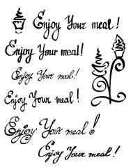 Vector lettering set written as Enjoy your meal. Hand drawn design quote. Calligraphy font for poster or banner with illustration of coffee cups