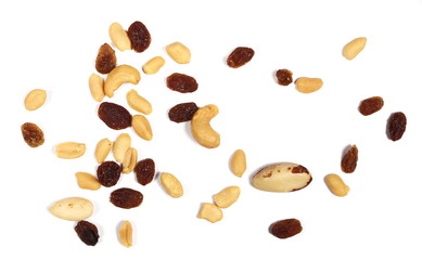 Healthy food, pile of mixed nuts, cashews, peanuts, hazelnut, raisins, brazilian nut, almond, isolated on white