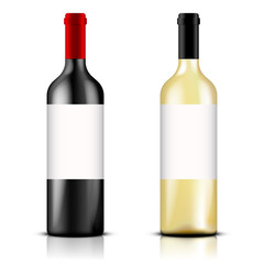 Realistic red and white wine bottles on white background. Vector illustration, eps10.