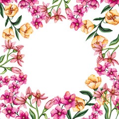 Frame with Watercolor Yellow and Pink Flowers