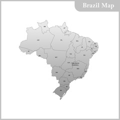 Detailed map of the Brazil with each state, region abbreviation