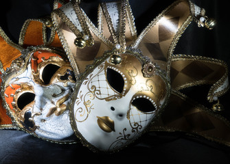 Venetian Masks in Gold and Orange