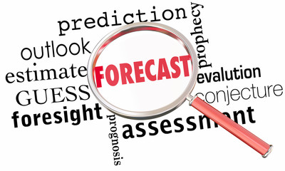 Forecast Prediction Outlook Estimate Word Collage Magnifying Glass 3d Illustration