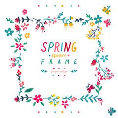 Cute doodle spring square frame