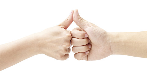 two hands with thumbs pressed together, isolated on white background.
