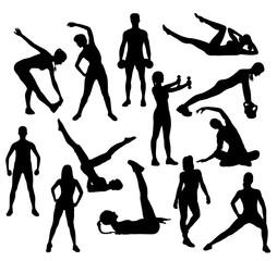Fitness Sport Gym Silhouette, art vector design