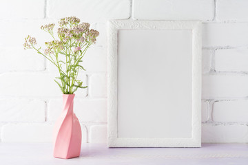 White frame mockup with creamy pink flowers in swirled vase