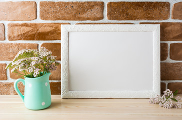 White landscape frame mockup creamy pink flowers in mint pitcher