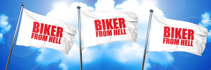 biker from hell, 3D rendering, triple flags