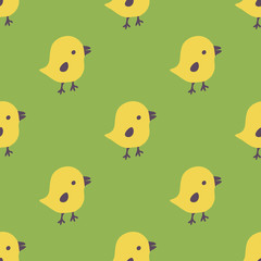 Seamless pattern with cartoon yellow chicks. Easter greeting cards, Hand drawn background