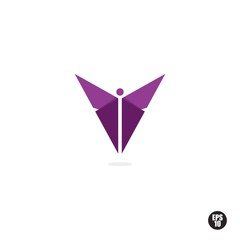 Purple Butterfly Logo or Icon. Isolated.