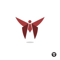 Red Butterfly Logo or Icon. Isolated.