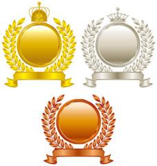 金、銀、銅、王冠エンブレム
