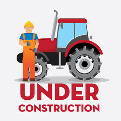 man worker with yellow jumpsuit and yellow helmet in front of truck with  under construction  sign, vector illustration