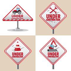 under construction signs symbols set, vector illustration