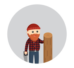 fat lumberjack with saw and big wood log in circle background