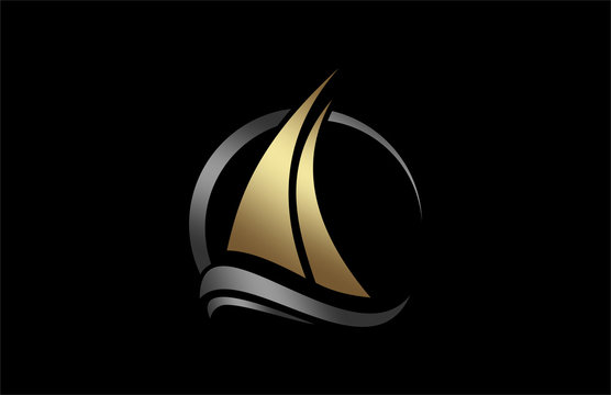 boat icon in gold and metal color