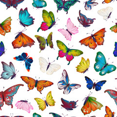 Seamless pattern with collection of different butterflies and flowers for summer and spring design, vintage, boho. Handdrawn separated editable elements, Vector illustration.
