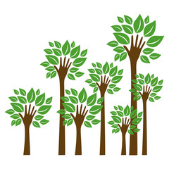 trees with stem in form hand icon, vector illustraction design image