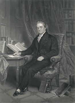 Noah Webster - American lexicographer. Steel Engraving 1864.