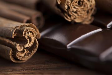 Dark chocolate with  candy sweet, dessert food, cinnamon