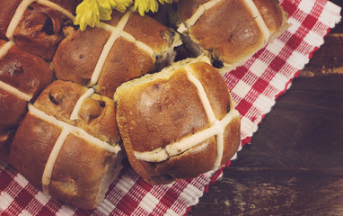 Delicious English style Happy Easter Hot Cross Buns