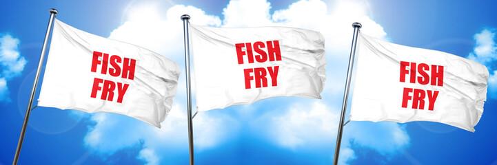 fish fry, 3D rendering, triple flags