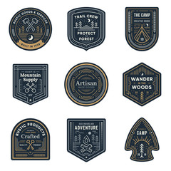 Vintage outdoor camp badges