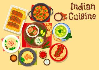 Indian cuisine dinner with cream dessert icon