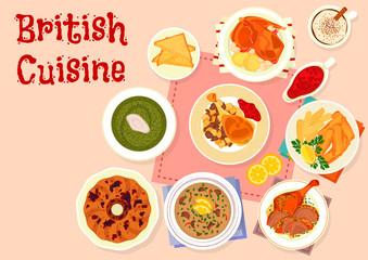 British cuisine traditional dinner menu icon