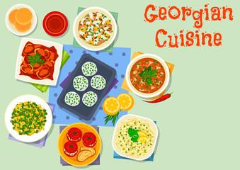 Georgian cuisine dishes icon for dinner design