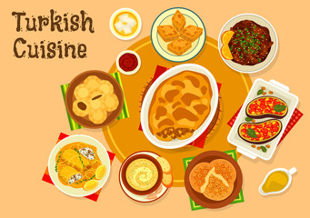 Turkish cuisine meat dishes with dessert icon