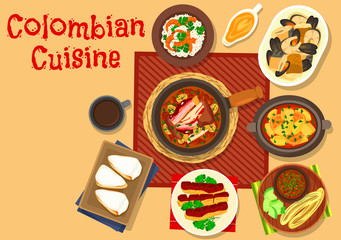 Colombian cuisine dinner dishes icon design