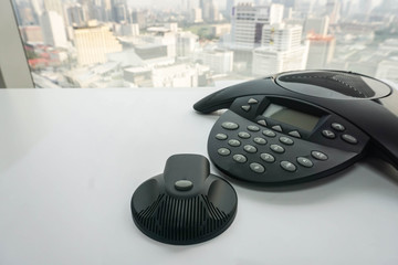 close up IP conference phone with portable speaker