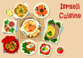 Israeli cuisine traditional dinner dishes icon