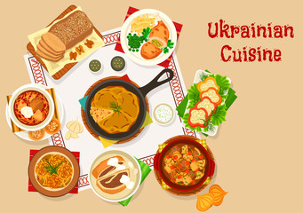 Ukrainian cuisine lunch dishes icon design