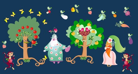 Fairy tale illustration with cute cartoon characters: apple trees, eggplant, carrot, birds and monkeys. Print for fabric. Vector image for children. Vegetarian food.