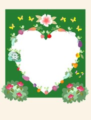 Funny wedding invitation for vegetarians.  Birds, butterflies, flowers, vegetables, berries and fruits. Space for text or image in the form of heart.