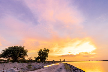 Panorama view with colourful sunset and twilight sky,, tropical island Bali, Indonesia.
